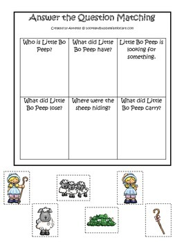 Little Bo Peep themed Answer the Question printable game.  Preschool activity.