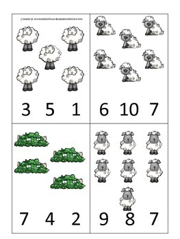 Little Bo Peep themed Count and Clip Cards child math curriculum .