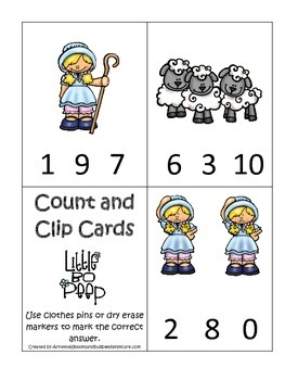 Little Bo Peep themed Count and Clip Cards child math curr