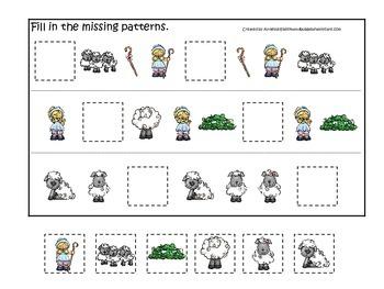 Little Bo Peep themed Fill in the Missing Pattern preschool printable game.