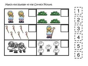 Little Bo Peep themed Match the Number preschool educational game.