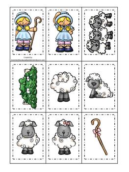 Little Bo Peep themed Memory Matching preschool curriculum game. Daycare