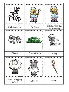Little Bo Peep themed Three Part Matching preschool printable activity.