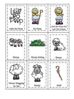 Little Bo Peep themed Three Part Matching preschool printable activity.