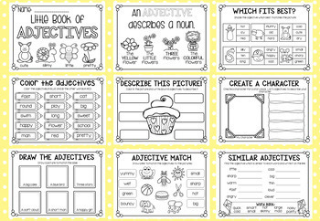 Little Book of Adjectives - a5 Printable Worksheet Booklet