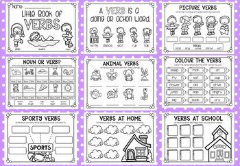 Little Book of Verbs - Half Page Printable Worksheet Booklet
