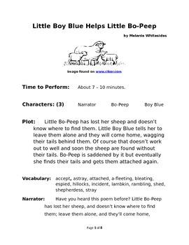 Little Boy Blue Helps Little Bo-Peep Small Group Reader's Theater