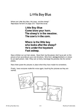 Little Boy Blue (Oral and Listening Skills)