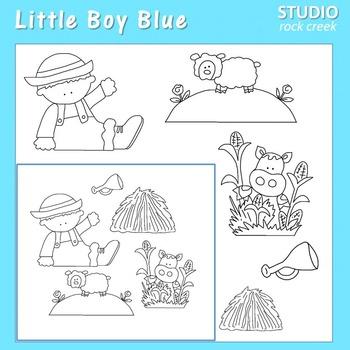 Little Boy Blue line drawings pers/com nursery rhyme C Seslar