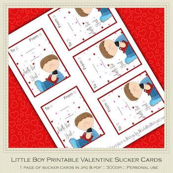 Little Boy Printable Valentine Sucker Cards