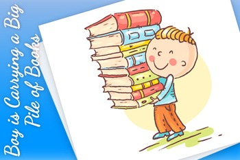 Little Boy is Carrying a Big Pile of Books
