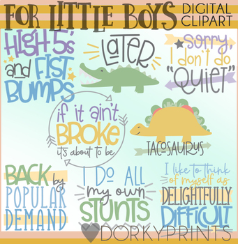 Little Boys Title Words Clipart