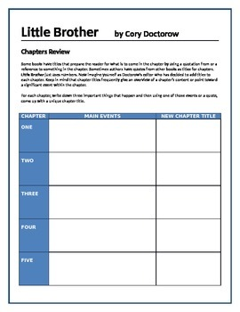 Little Brother - Doctorow - Chapters review activity