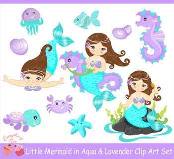 Little Brunette Mermaids in Aqua and Lavender Clipart Set