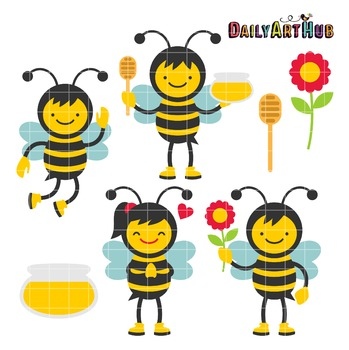 Little Bumble Bees Clip Art - Great for Art Class Projects!
