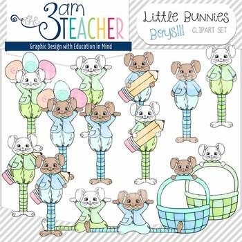 Little Bunnies Clip Art Set : Boys!!!