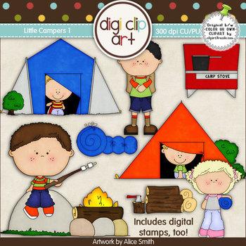 Little Campers 1-  Digi Clip Art/Digital Stamps - CU Clip Art