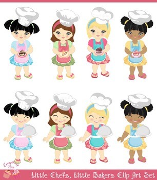 Little Chef Girls 2 Clipart Set