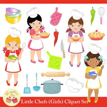 Little Chefs Girls Clipart Set