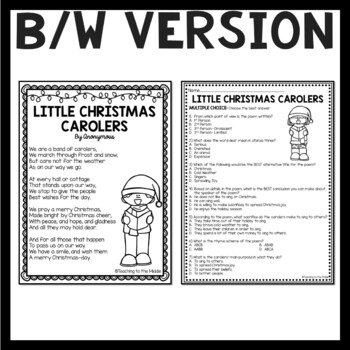 Little Christmas Carolers Poem, Reading Comprehension Worksheet, Test Prep