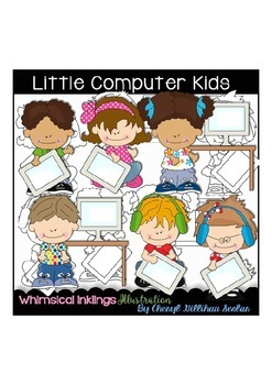 Little Computer Kids Clipart Collection