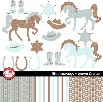 Little Cowboys Brown & Blue~ Digital Paper and Clipart Set by Poppydreamz