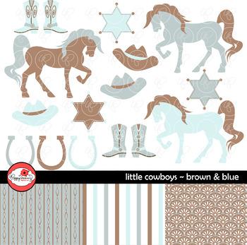 Little Cowboys Brown & Blue~ Digital Paper and Clipart Set