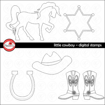 Little Cowboys Digital Stamps Clipart Set by Poppydreamz