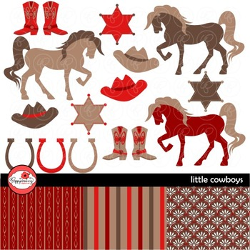 Little Cowboys Red & Brown Digital Paper and Clipart Set by Poppydreamz