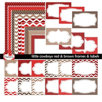 Little Cowboys Red & Brown Frames Labels Digital Borders Clipart by Poppydreamz