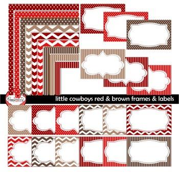 Little Cowboys Red & Brown Frames Labels Digital Borders C