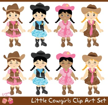 Little Cowgirls Cow Girls Clipart Set