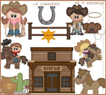 Little Cowpokes Kids Clipart ~ Western Cowboys Cowgirls ~ Digital Graphics CU OK