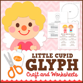 Valentine's Day Math Activity - Cupid Glyph Craft with Worksheets