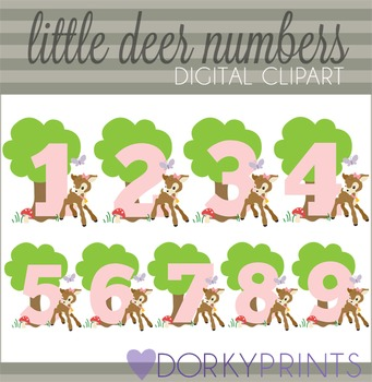 Little Deer Numbers Clip Art