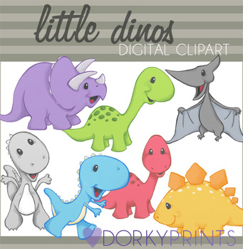 Little Dinos Digital Clip Art