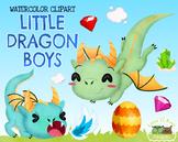 Little Dragon Boys Watercolor Clipart   Instant Download V