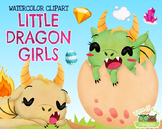 Little Dragon Girls Watercolor Clipart   Instant Download