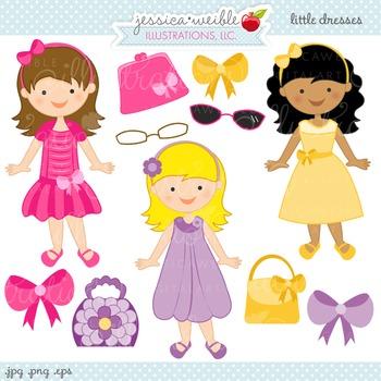 Little Dresses Cute Digital Clipart, Dress Up Girls Clip Art