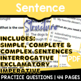 Sentence Structure Worksheets | ELA Assessments by Standard | Grade 3-4