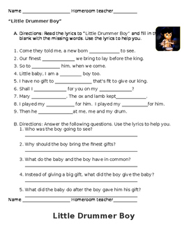 Little Drummer Boy worksheet
