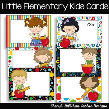Little Elementary Kids Cards Clipart
