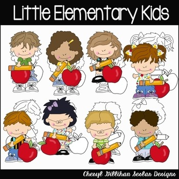 Little Elementary Kids Clipart Collection