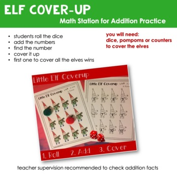 Little Elf Cover Up   Addition Practice   Math Practice