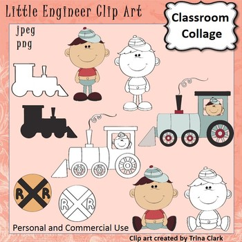 Train Clip Art Little Engineer Color & Black and White personal & commercial use