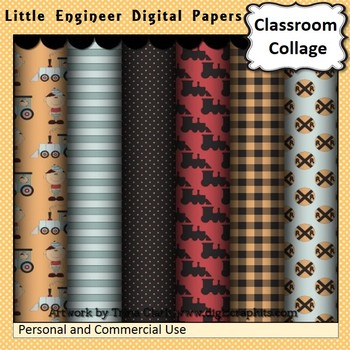 Little Engineer and Trains Digital Papers Set Color  personal & commercial use