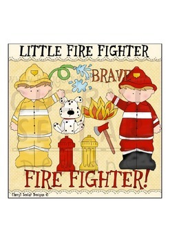 Little Fire Fighters NO LICENSE REQUIRED CLIPART COLLECTION