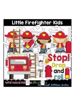 Little Firefighter Kids Clipart Collection
