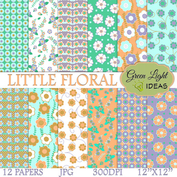 Little Floral Digital Papers / Spring Backgrounds / Flowers Papers