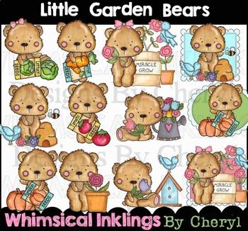 Little Garden Bears Clipart Collection